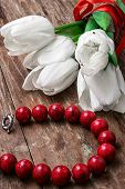 Tulips And Womens Coral Beads