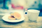 Tasty Biscuit And Coffee On Wooden Table. Selective Focus