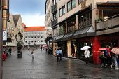 Nurnberg, Germany - July 13 2014: Rainy Day in Hauptmarkt