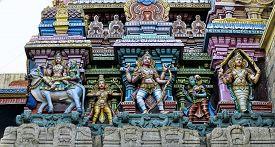 image of meenakshi  - Detail of colorful tower of Meenakshi Amman Temple in India - JPG