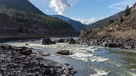 stock photo of kayak  - Rapids in the Fraser River - JPG