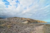 foto of volcanic  - Volcanic Rock Basaltic Formation in Canary Islands - JPG