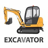 stock photo of excavator  - Excavator vector illustration - JPG