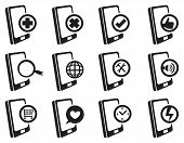stock photo of handphone  - Hand phones with internet and web symbols for different software applications - JPG