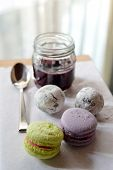 picture of cake-ball  - set of macaroons and ball cake with jam - JPG