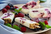 image of popsicle  - Frozen yogurt popsicles with oats and blueberry jam - JPG