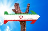 image of tehran  - Iran Flag wooden sign with a beautiful day - JPG