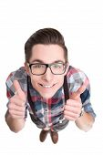 picture of nerds  - Young nerd in glasses and checkered shirt gesturing thumbs up isolated on white background - JPG