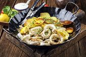 pic of squid  - Fried Squid Rings with Potatoes - JPG