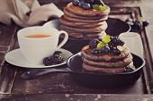 pic of buckwheat  - Blueberry pancakes with buckwheat flour for breakfast toned image  - JPG