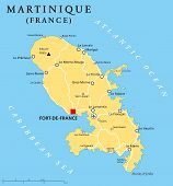 picture of political map  - Martinique political map with capital Fort - JPG