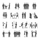 pic of tv sets  - Colleagues friends and classmates groups sharing  free time activities concept black icons set abstract isolated vector illustration - JPG