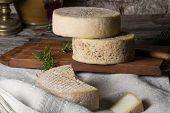 foto of french culture  - Still life with french goat cheese - JPG