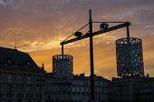 stock photo of bordeaux  - Urban landscape at sunset in Bordeaux - JPG
