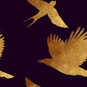 picture of swallow  - Creative design with golden silhouettes of a crow and swallow - JPG