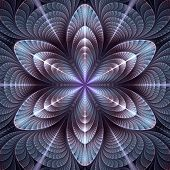 picture of six-petaled  - Abstract fractal blue - JPG