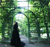 stock photo of evil queen  - Dark Queen in park - JPG