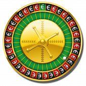 Постер, плакат: Euro Roulette Wheel Symbol Win