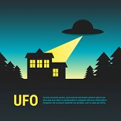 image of house woods  - UFO with house in woods - JPG