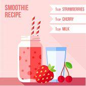 foto of cherries  - Infographics of strawberry and cherry smoothie recipe - JPG