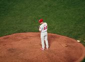 Roy Oswalt Sets To Throw Pitch From Mound