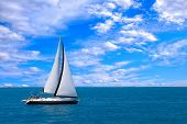 image of sail-boats  - Sailing yacht in the Ionian sea Greece - JPG