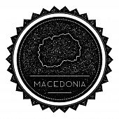 Постер, плакат: Macedonia The Former Yugoslav Republic Of Map Label With Retro Vintage Styled Design Hipster Grun