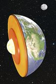 picture of outer core  - High quality 3d image of Earth dissection in space - JPG