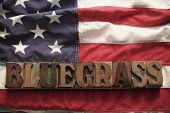 USA-Flagge mit Bluegrass-Wort