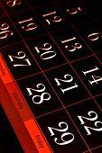 white calendar dates on black