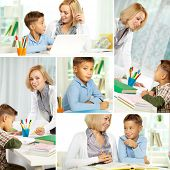 Collage of pretty tutor and diligent pupil doing schoolwork at home