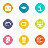 Scientific Examination Icons Set. Flat Set Of 9 Scientific Examination Vector Icons For Web Isolated poster