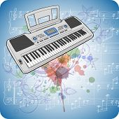 Electronic musical midi keyboard - synth , music sheets & floral calligraphy ornament - a stylized o