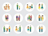 Family Icon Set. Mother And Father With Baby Man And Woman With Children Couple With Child Happy Fam poster