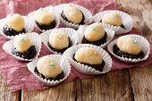 Festive Brazilian Sweets Olho De Sogra With Prunes Close-up. Horizontal poster