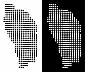 Постер, плакат: Vector Rhombus Pixel Dominica Island Map Abstract Geographical Maps In Black And White Colors On Wh