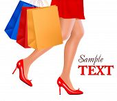 Waist-down view of shopping woman wearing red high heel shoes and carrying shopping bags. Vector ill