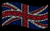 Waving Uk State Flag On A Black Background. Vector Treasure Bricks Icons Are Placed Into Mosaic Uk F poster