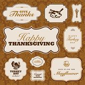 stock photo of wedding feast  - Vector Thanksgiving Frame Set - JPG