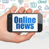 News Concept: Hand Holding Smartphone With  Blue Text Online News On Display,  Hand Drawn News Icons poster