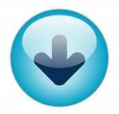 Das glasige Aqua blau download Icon button