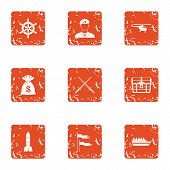 Military Money Icons Set. Grunge Set Of 9 Military Money Vector Icons For Web Isolated On White Back poster