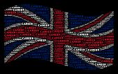 Waving Uk State Flag On A Black Background. Vector Career Text Design Elements Are Arranged Into Geo poster