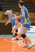 KAPOSVAR, HUNGARY - OCTOBER 2: Julia Schrauff (in white) in action at a Hungarian NB I. volleyball g