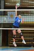 KAPOSVAR, HUNGARY - OCTOBER 2: Unidentified player in action at a Hungarian NB I. League volleyball