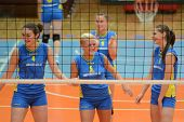KAPOSVAR, HUNGARY - OCTOBER 2: Kaposvar players at a Hungarian NB I. League volleyball game Kaposvar