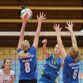 KAPOSVAR, HUNGARY - OCTOBER 2: Karmen Kovacs (12) in action at a Hungarian NB I. League volleyball g