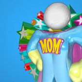 A woman in a Supermom costume stands ready to protect her family and multitask by taking care of the