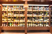 Abstract Blurred Chilled Wine Section At Store In Usa poster