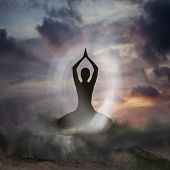 picture of yoga silhouette  - Silhouette of a Person practising Yoga and Spirituality - JPG